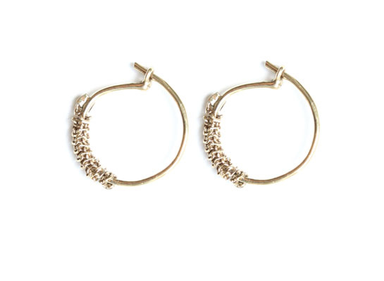 Stephanie Jewels mini creoles with chain 14-karat gold