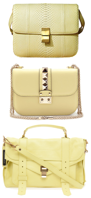 Three is a trend - Proenza Schouler PS1 bag, Valentino Vavavoom bag and Celine Box bag in yellow