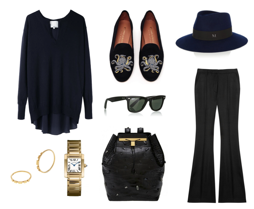 Wish Outfit - The Row, Cartier, 3.1 Phillip Lim, Stubbs & Wootton, Stela McCartney, Mason Michel hat, Ray Ban.