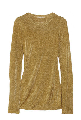 Michael Kors draped fine-knit lamé top