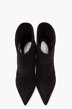 Saint Laurent black suede Paris P 80 slouch boots-2