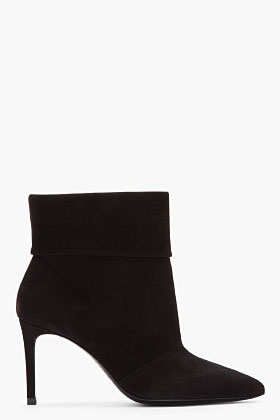 Saint Laurent black suede Paris P 80 slouch boots