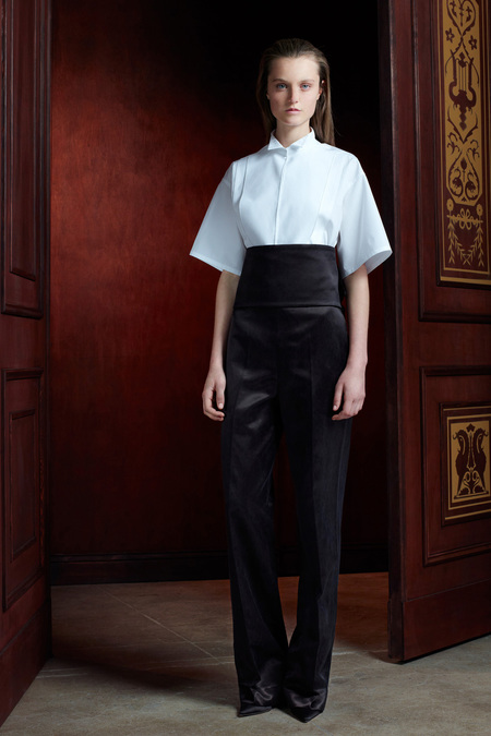 The Row Pre-Fall 2013 obi belt and white shirt
