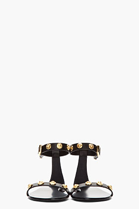 Versace black leather and gold crest sandals