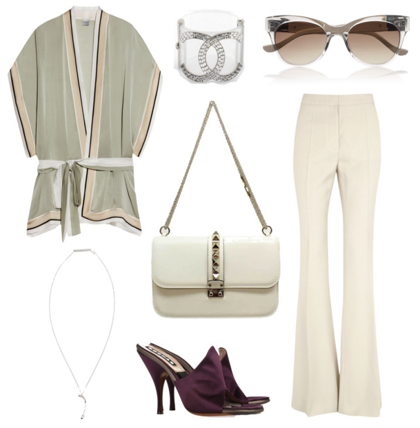 Wish outfit 2013 - Chanel cuff, Valentino Vavavoom bag, Stella McCartney Trousers and Carine Gilson kimono