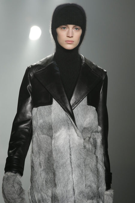 Alexander Wang Fall 2013 collection grey fur coat