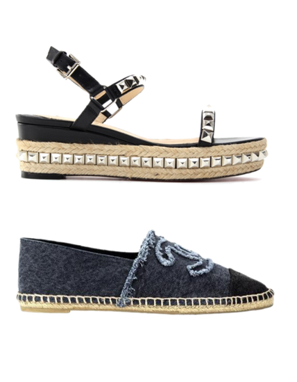 Christian Louboutin & Chanel jeans denim espadrilles wedge