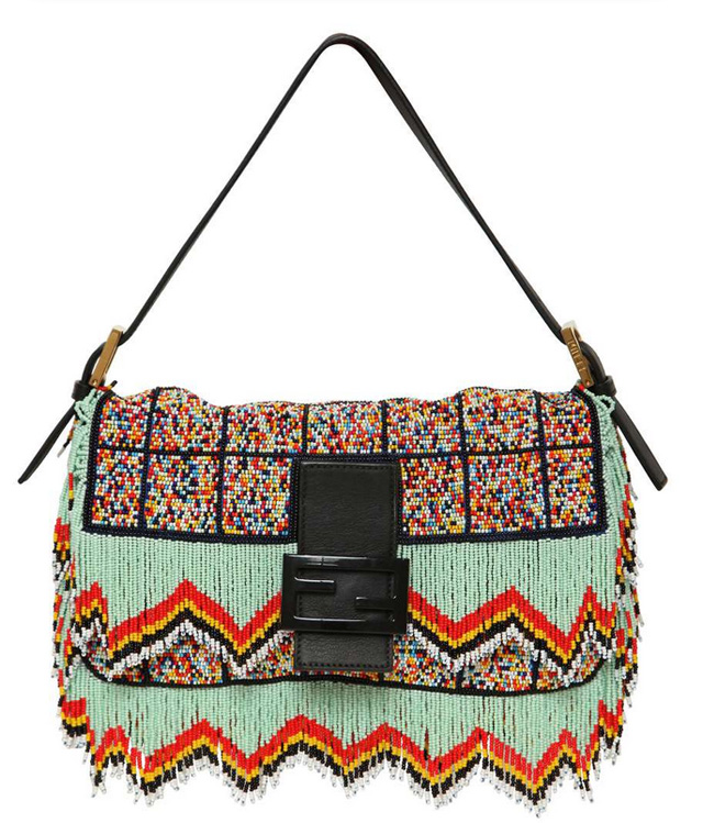 Fendi Baguette-Bead Embroidered Shoulder Bag