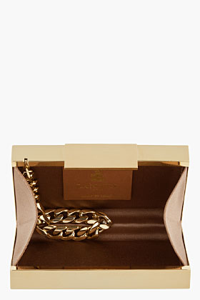 Lanvin gold box clutch