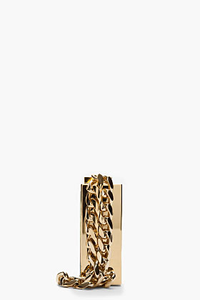 Lanvin gold rectangular box clutch side
