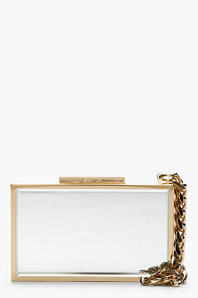 Lanvin gold rectangular box clutch