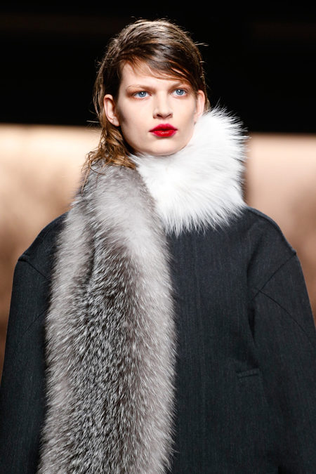 Marni Fall 2013 fur scarf grey