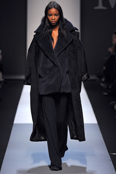 Max Mara Fall 2013 black teddy coat