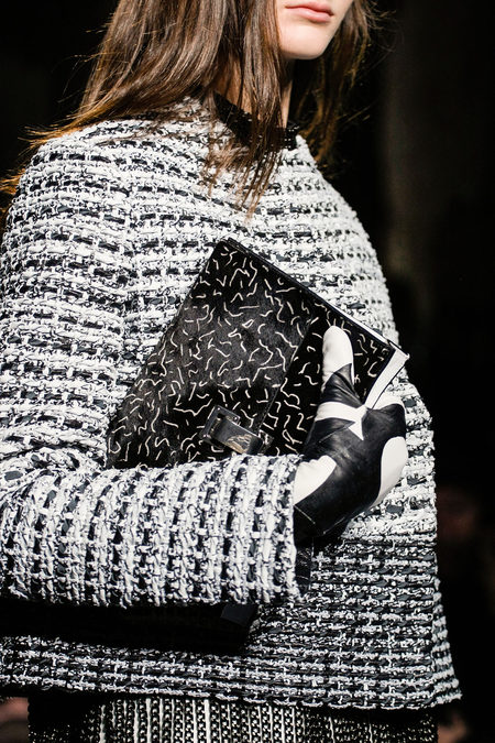 Proenza Schouler Fall Winter 2013 tweed jacket and clutch