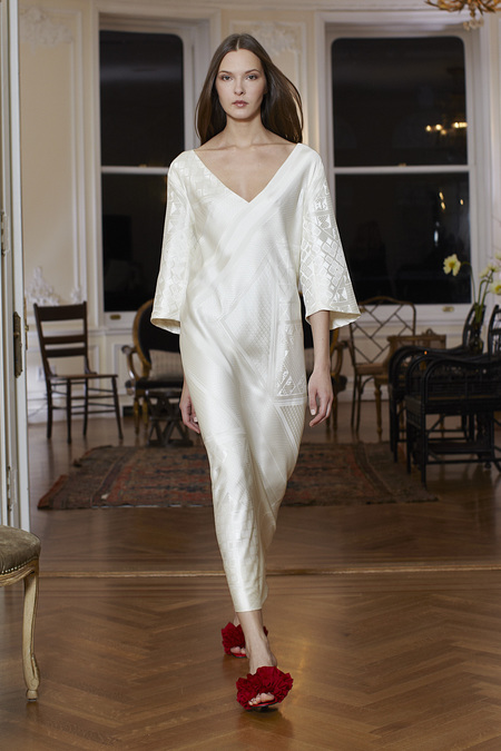 The Row Fall Winter 2013 white satin dress