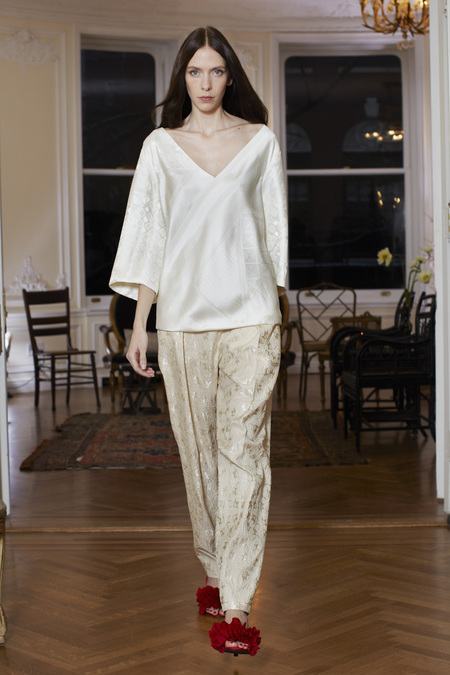 The Row Fall Winter 2013 white satin top
