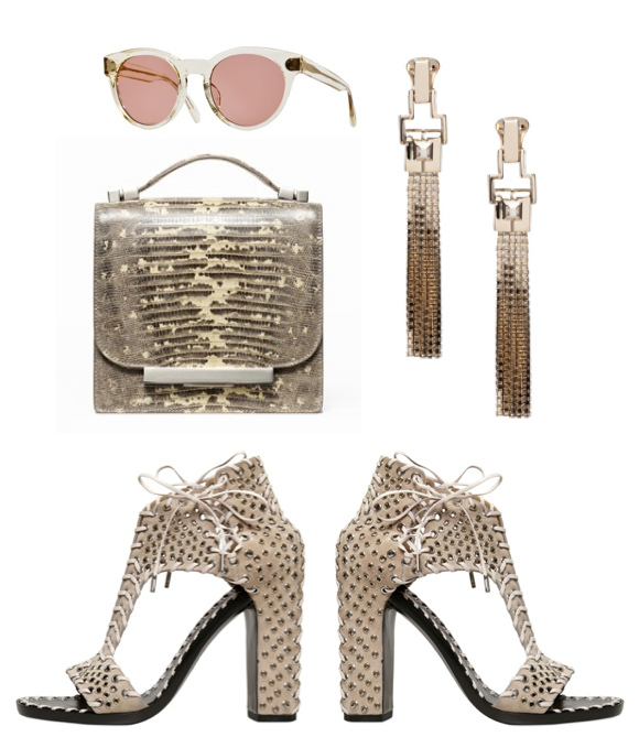 Wish list - accessories The Row bag, Oliver Peoples, Lanvin earrings and Salvatore Ferragamo laced up shoes