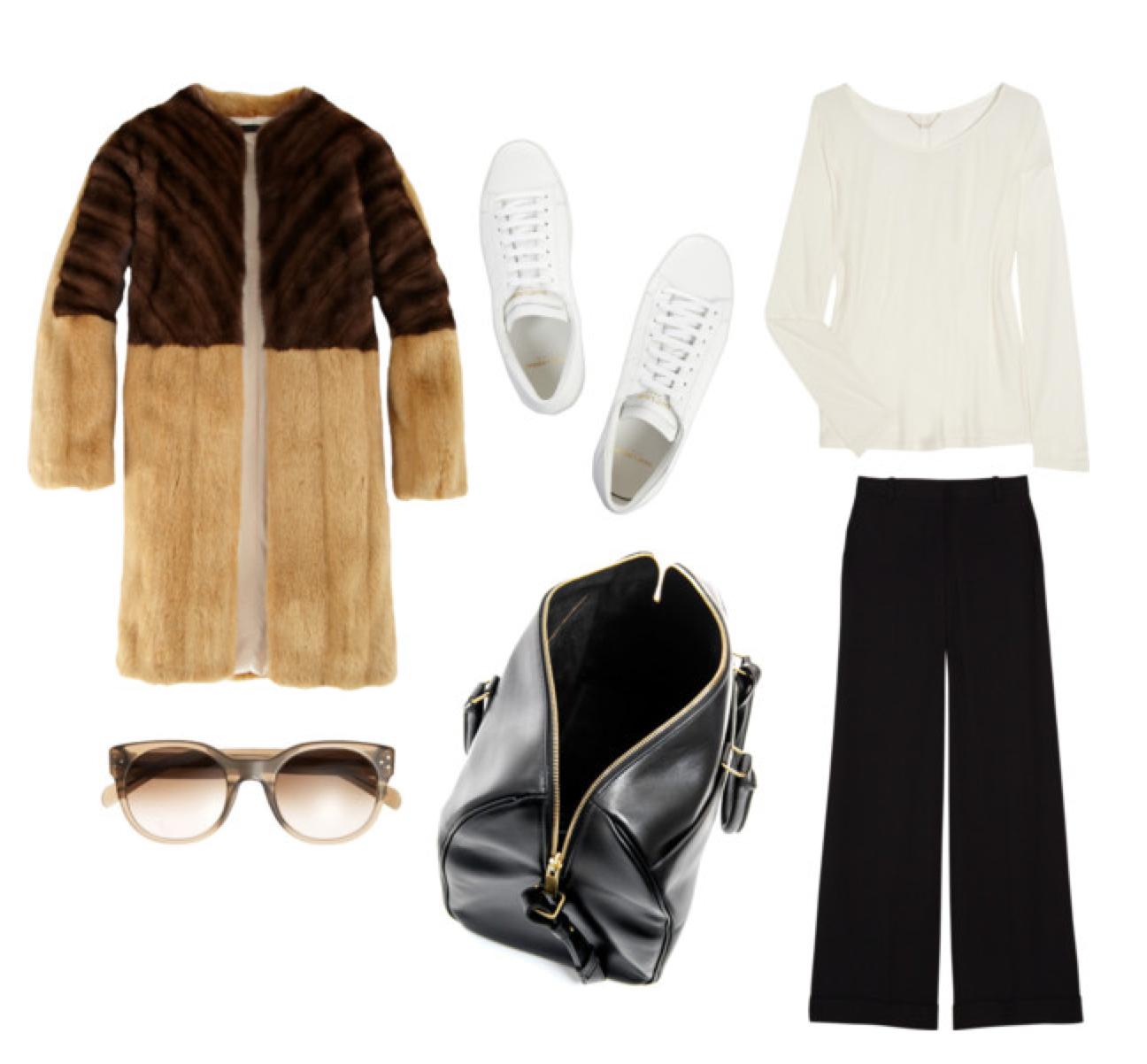 Wish outfit - The Row fur, Saint Laurent sneakers and bag, Celine sunglasses
