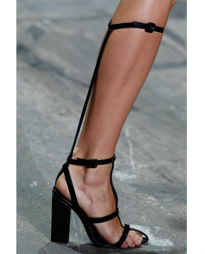 Alexander Wang 'Aline' t-bar Rubberised leather sandals runway