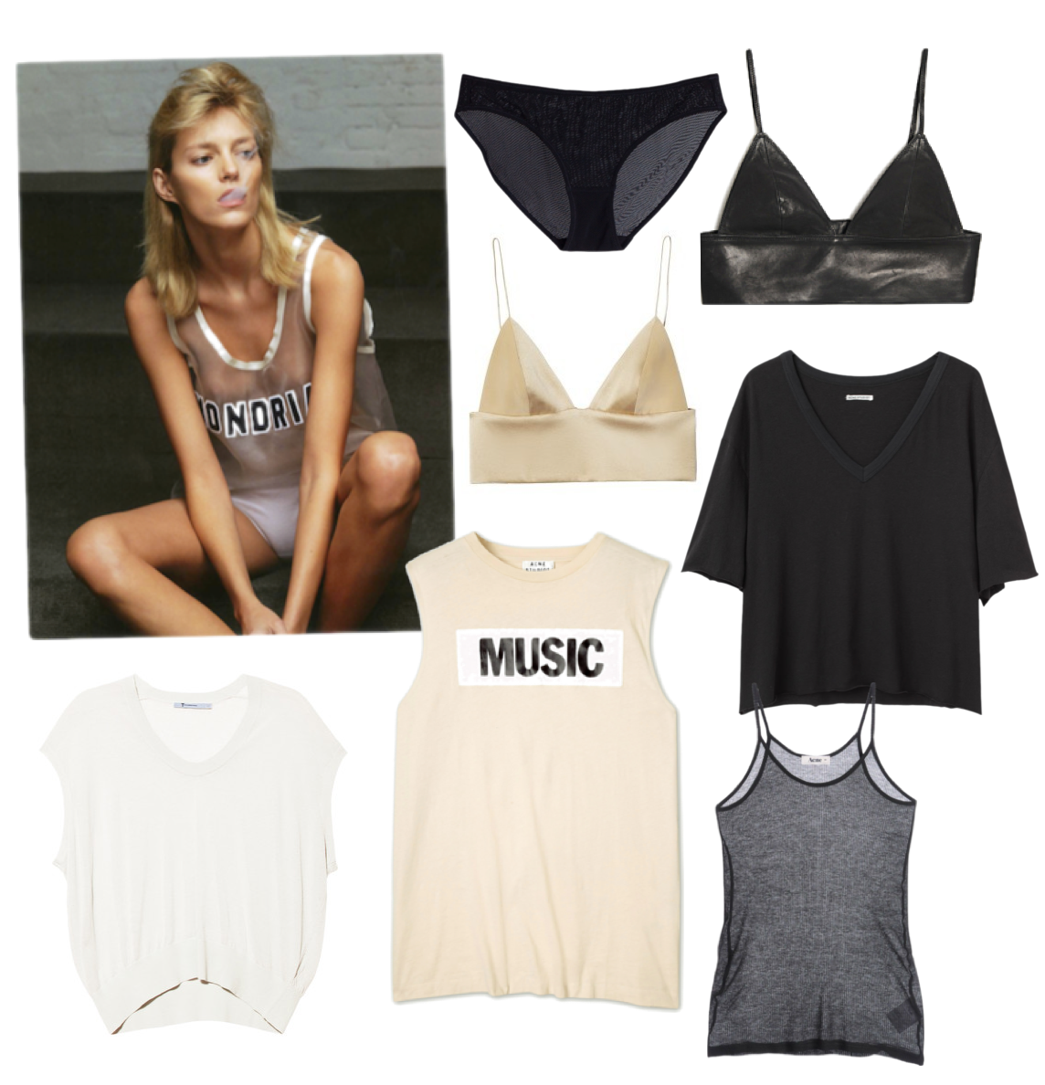 Anja Rubik T-shirt and bra: bralettes
