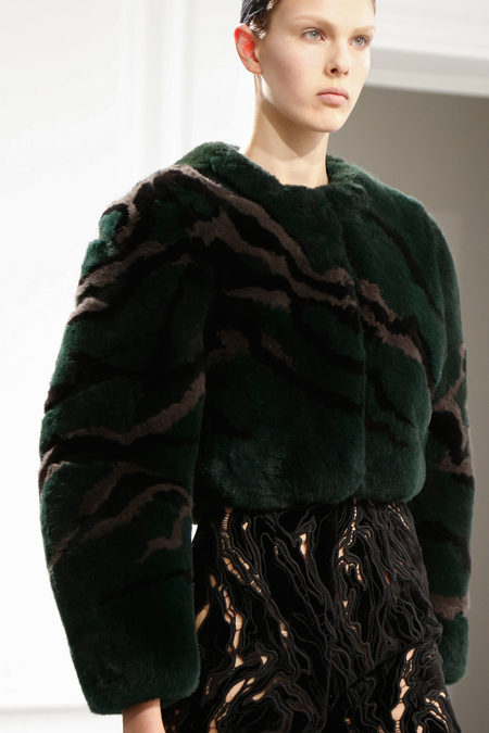 Balenciaga Fall 2013 green fur