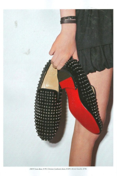 Christian Louboutin loafers and Hermes bracelet