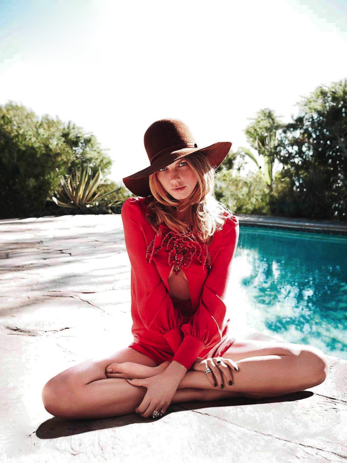 ELLE France February 2013 Angela Lindvall hat