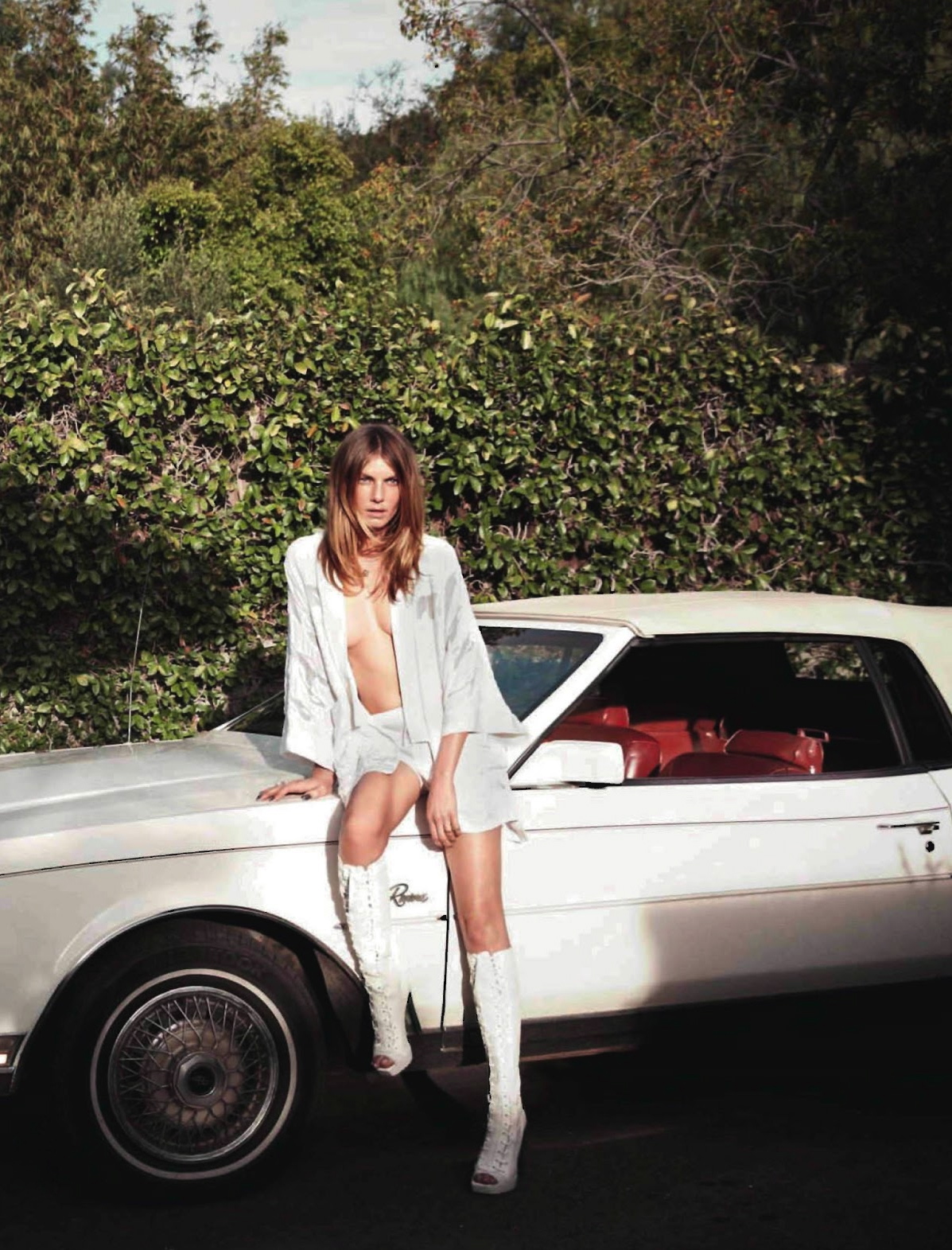 ELLE France February 2013 Angela Lindvall white boots