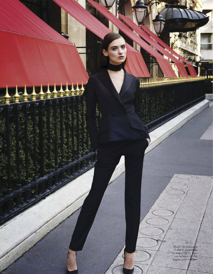 El Glamour Viene De Paris featuring Carolina Thaler for Elle Spain February 2013 by Pascal Chevallier suit