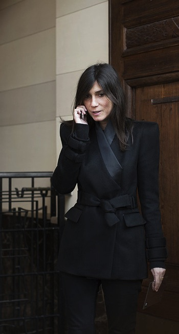 Emanuelle Alt black coat