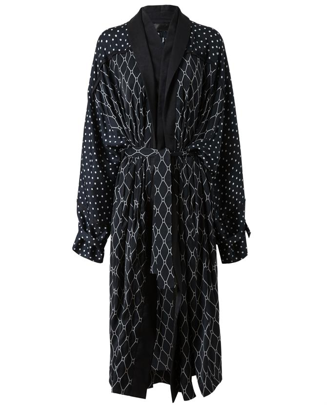 Haider Ackermann belted printed satin jersey gown