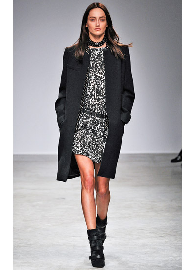 Isabel Marant Fall 2013 collection printed dress with coat