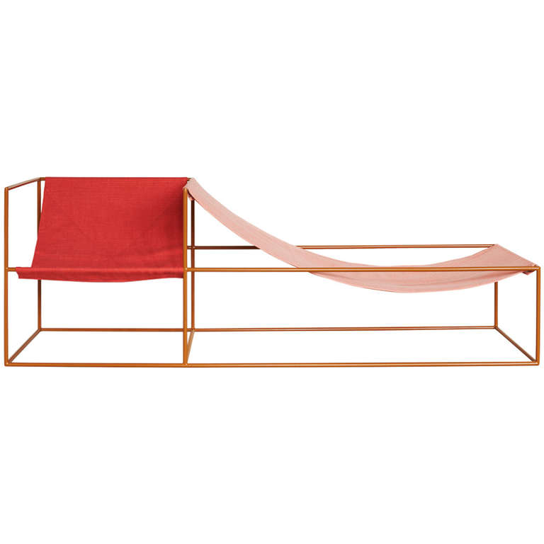 Muller Van Severen Red and Pink-Seated Chaise Longue