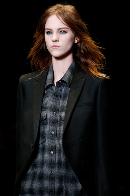 Saint Laurent Fall 2013 grey plaided shirt