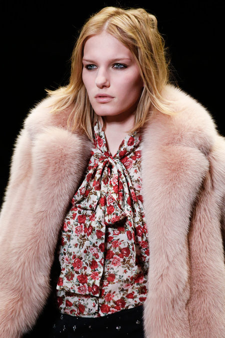 Saint Laurent Fall 2013 pink fur