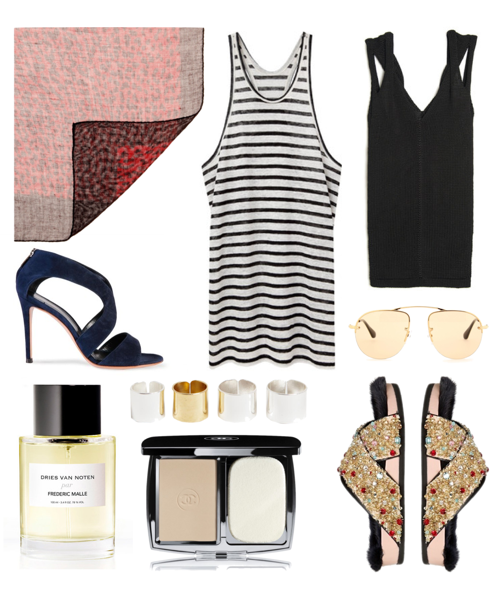 Spring Wish List - Saint Laurent leaopard scarf, Alexander Wang tanks, Cline slipeprs, Dries Van Noten Perfume, Chanel roughe, Prada sunglasses, Gianvito Rossi sandals