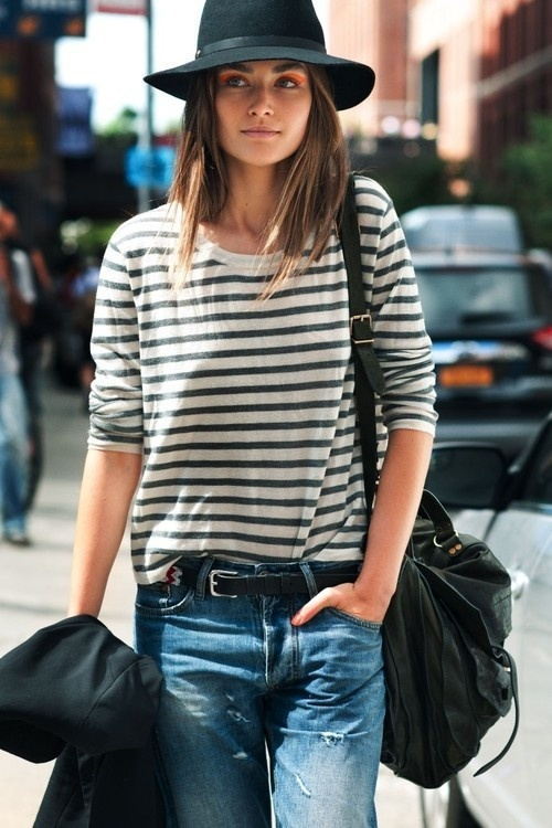 Street style denim, striped long-sleeved, PS1 by Proenza Schouler and Rag &amp; Bone hat