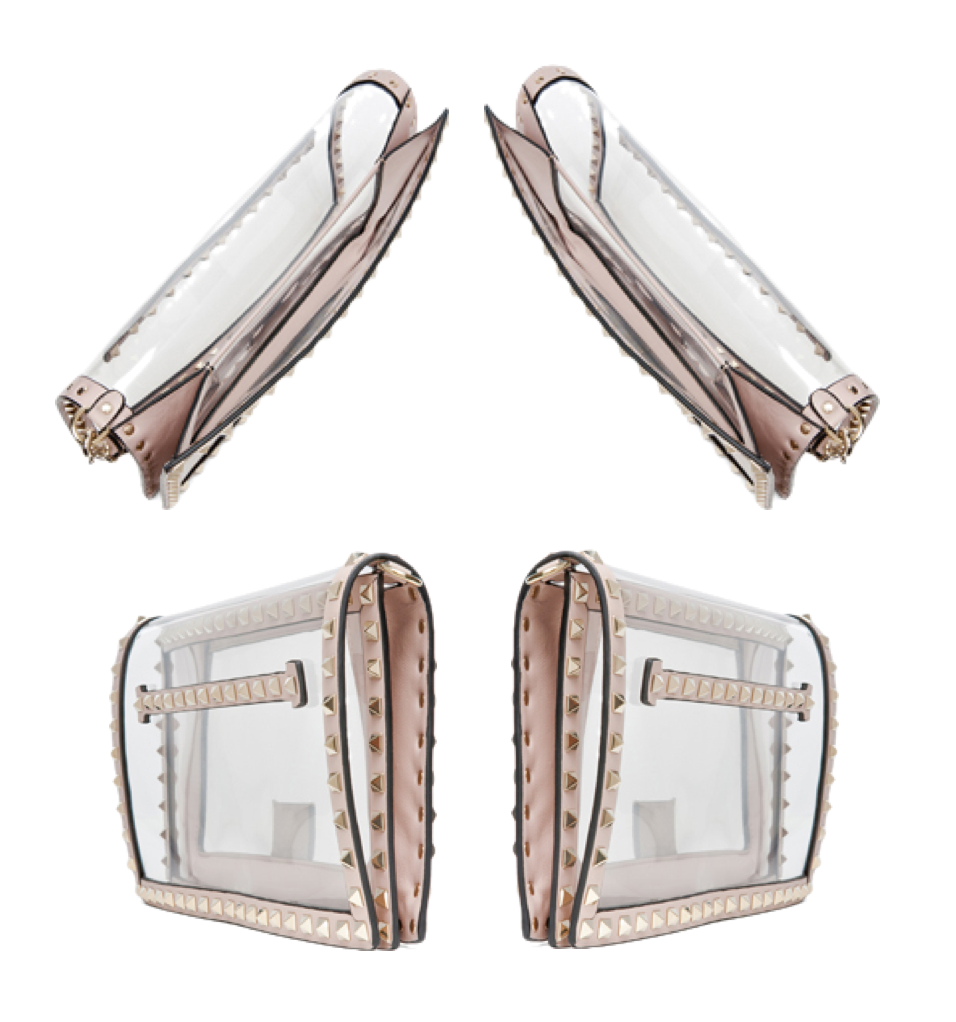 Valentino Rockstud PVC see-through clutch