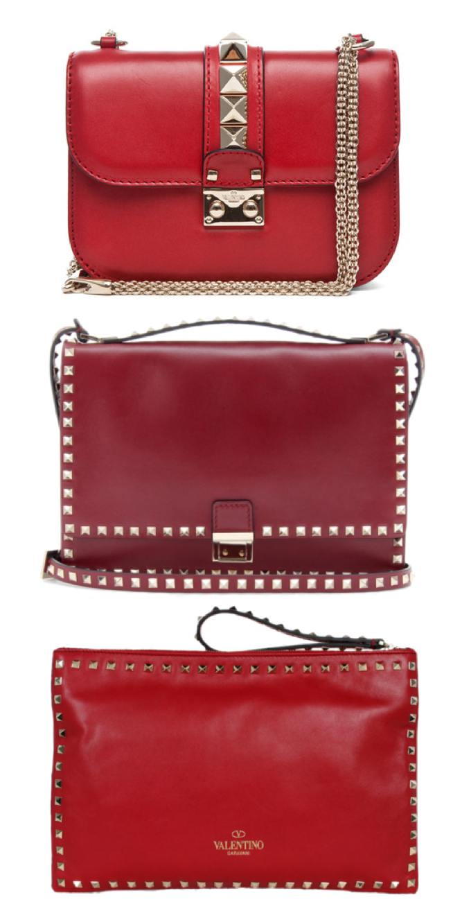 Valentino red bags - Rockstud bag and Va Va Voom flap bag