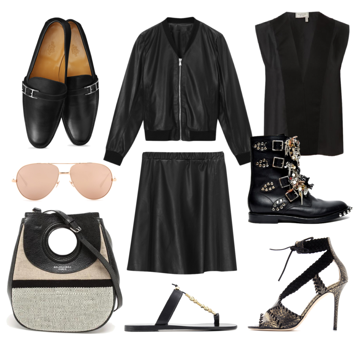 Wish List - all black Balenciaga, Filippa K, Hermes, Linda Farrow, Saint Laurent, Lanvin