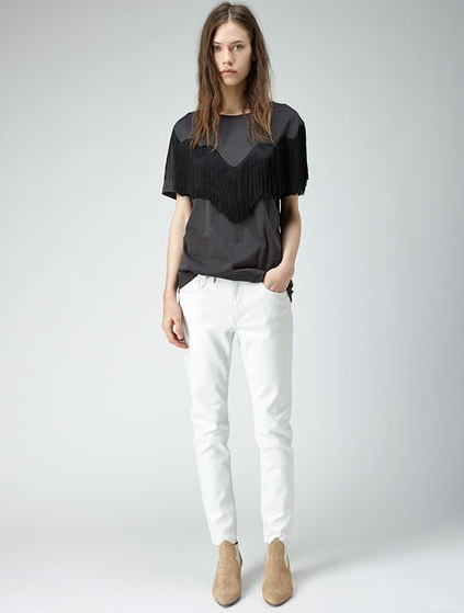 Acne fringe top:t-shirt and skin leather pants