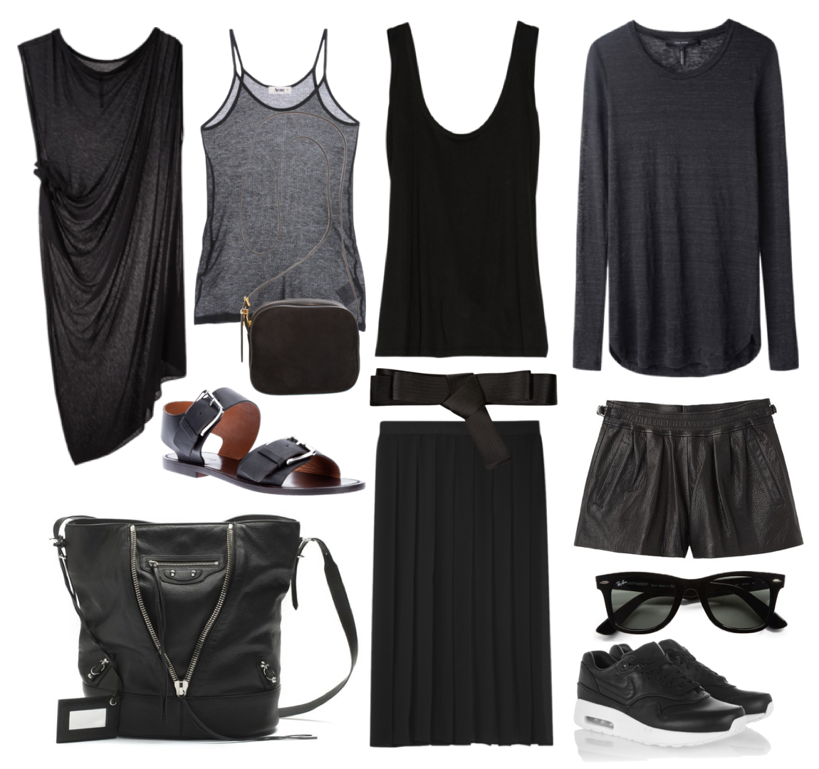 All black essentails - Balenciaga bag, Nike sneakers, The Row bag and clothing, Isabel Marant Etoile top, Lanvin belt, Rick Owens & Acne