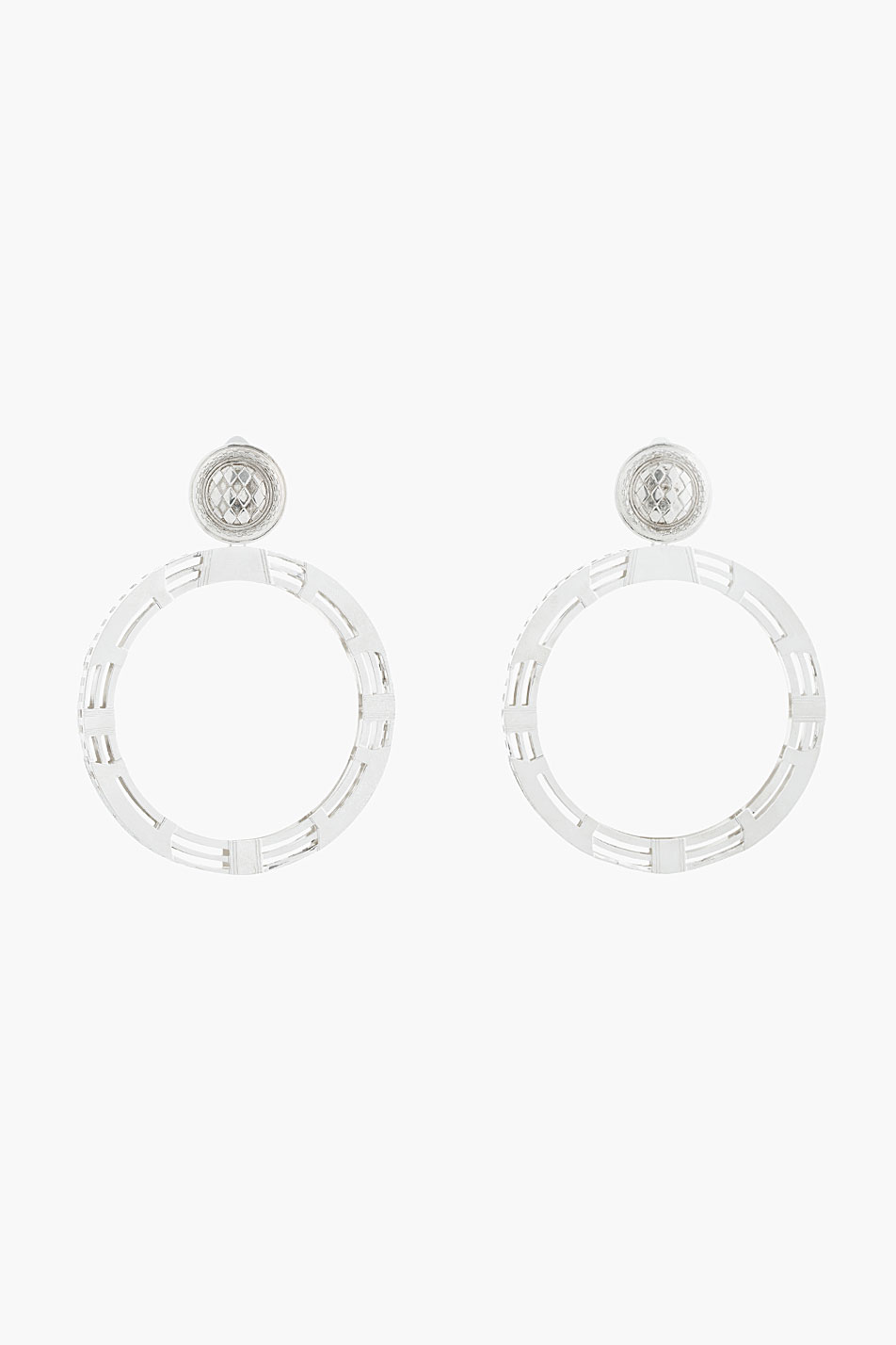 Balmain silver hollow hardware clip-on hoop earrings