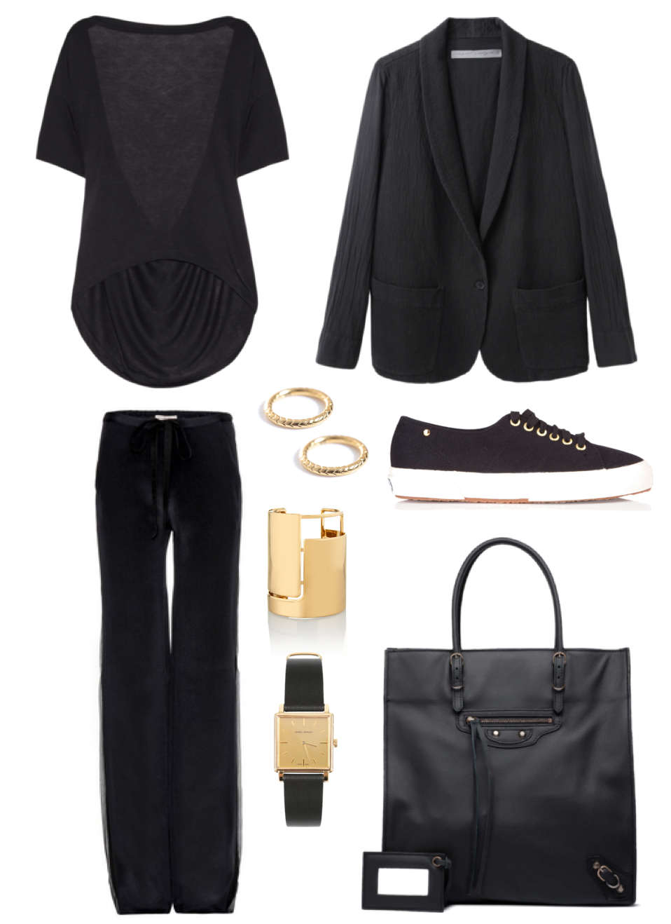 Casual cool - Balenciaga, The Row x Superga, Isabel Marant watch, Lanvin bracelet, Emilio Pucci trousers, Saint Laurent rings