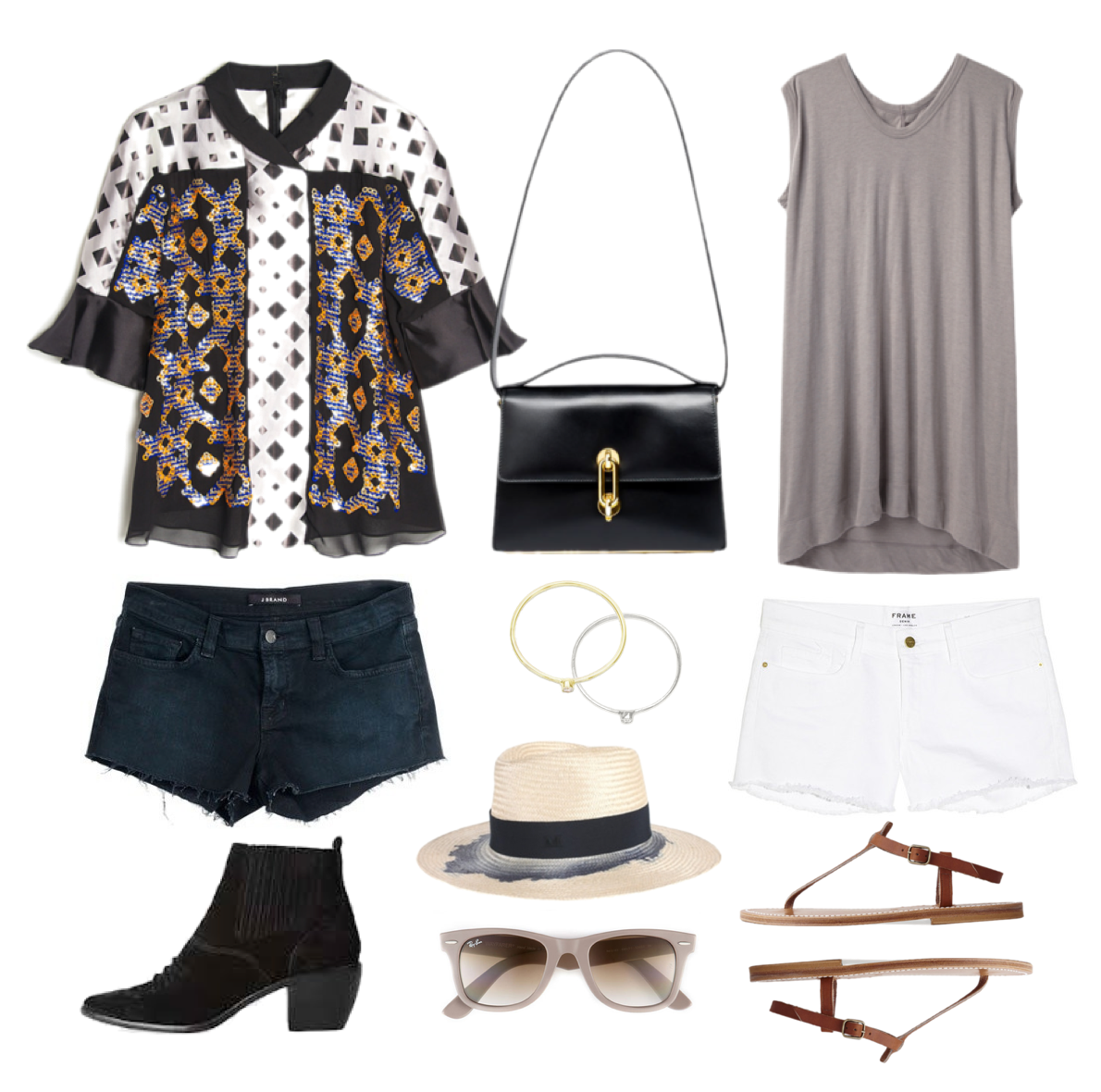 Coachella looks:outfits - Balenciaga, J.Brands shorts, K. Jacques St Tropez Sandals, Rick Owens, Ray Ban, Maison Michel hat, Anine Bing rings