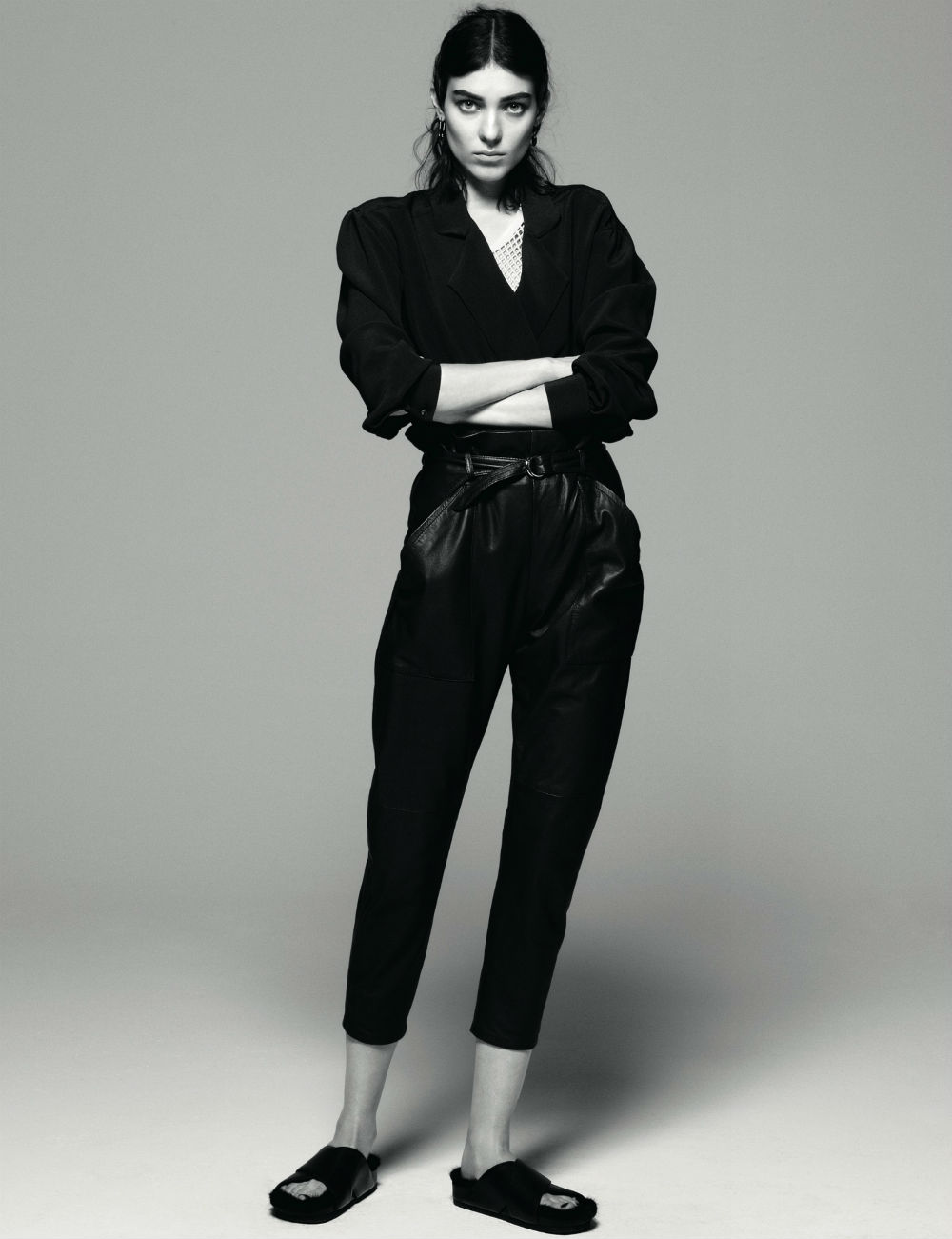 Kati Nescher in AnOther Magazne Spring 2013 by Daniel Jackson leather trousers