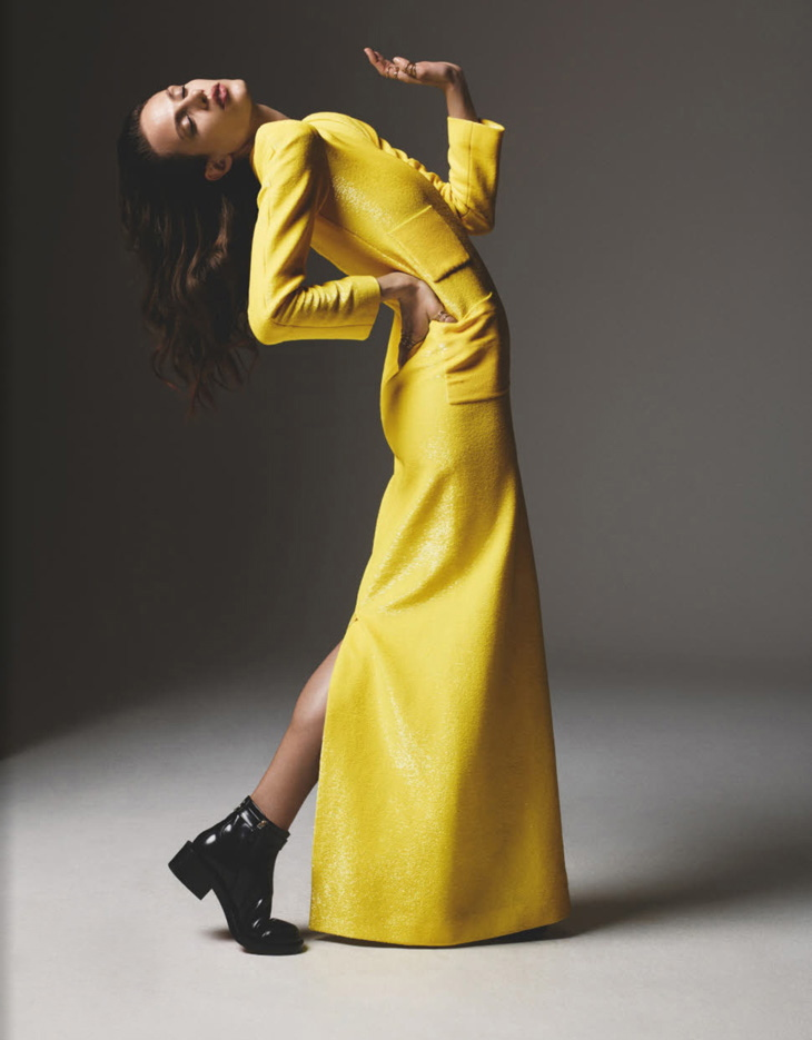Numéro Magazine April 2013 Aymeline Valade by Richard Bush yellow dress