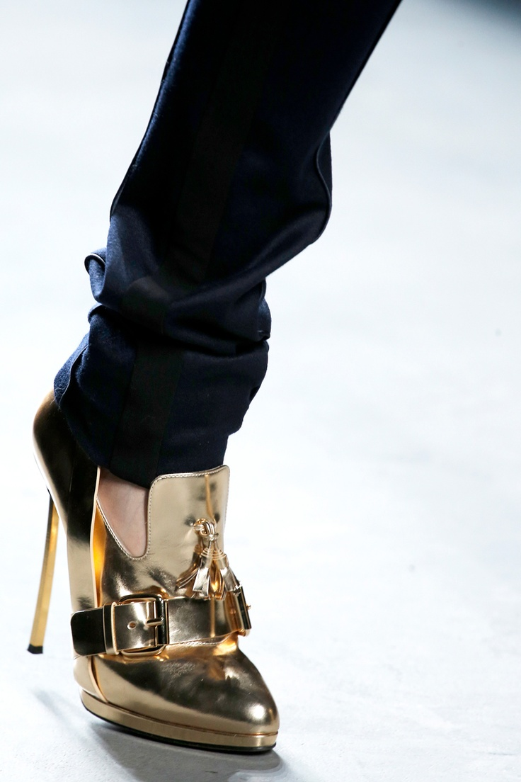 Prabal Gurung Fall 2013 gold shoes