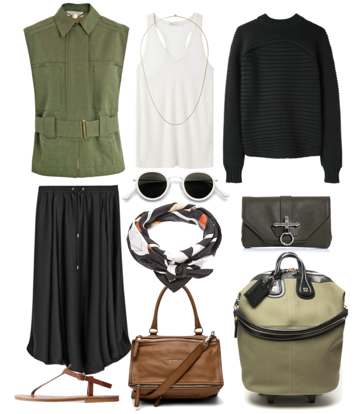 Safari chic - Stella McCartney vest, Alexander Wang tops, Filippa K skirt, Givenchy bags, Acne sunglasses and Hermes scarf, K Jacques sandals & Repossi necklace