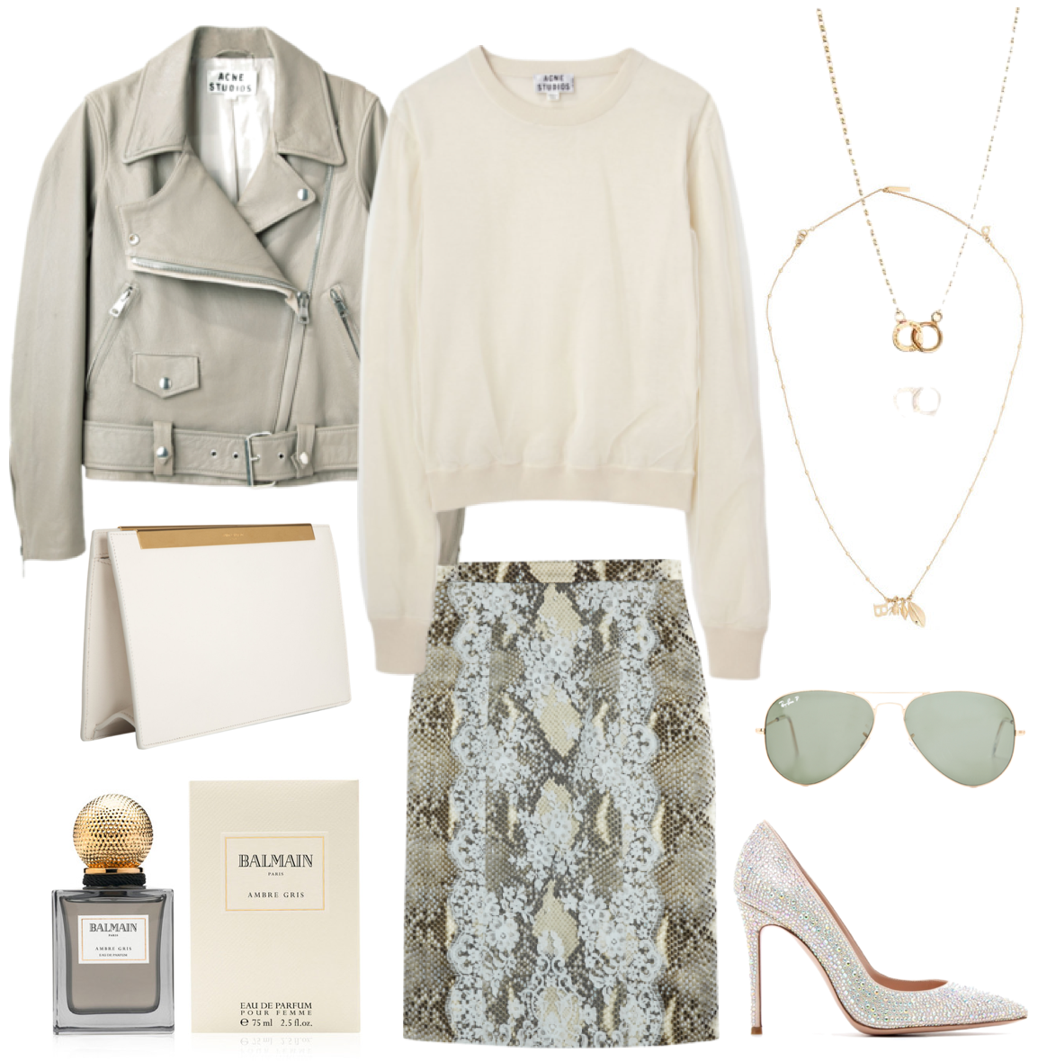 White look - Acne, Gianvito Rossi, Saint Laurent, Balmain, Efva Attling, Balenciaga, Ray-Ban, Erdem
